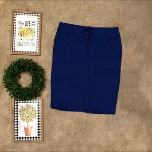 Royal blue denim/twill skirt